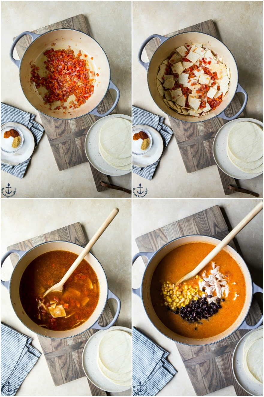 Overhead photo collage of easy chicken tortilla soup in pot