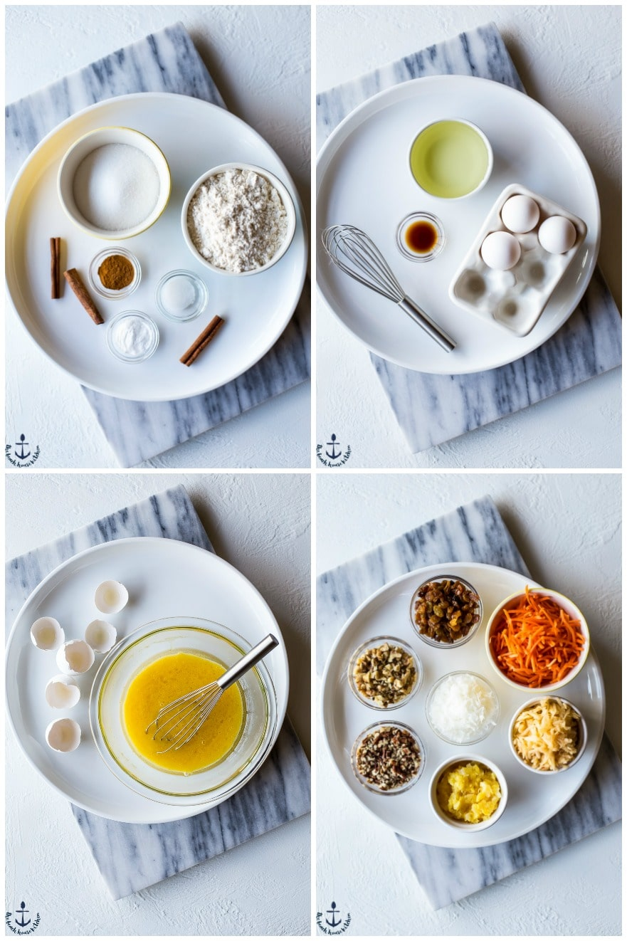 Collage of four photos of ingredients for morning glory muffins