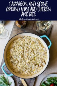 Pinterest long pin of tarragon and stone ground mustard chicken and rice