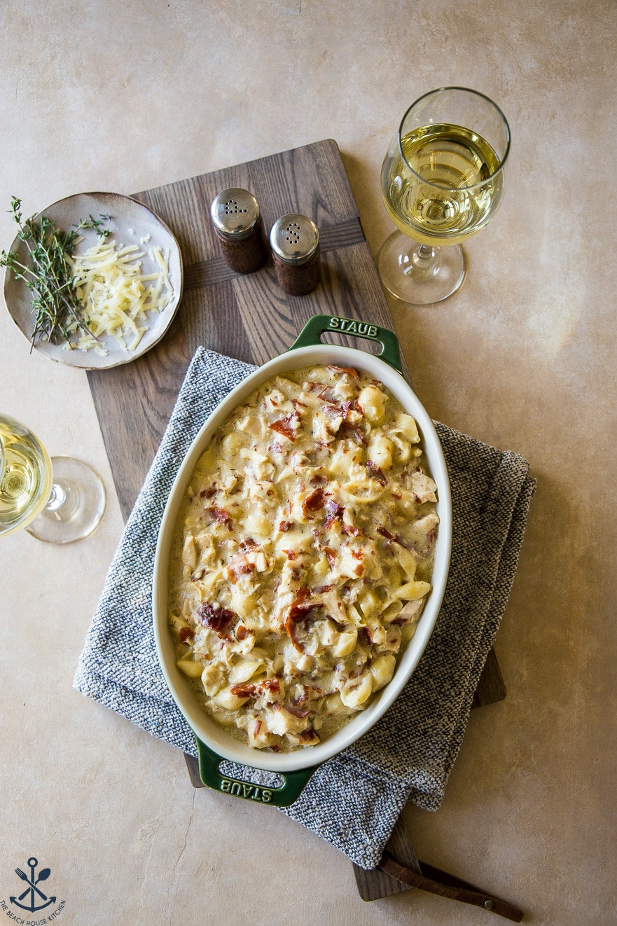 Overhead photo of chicken cordon bleu pasta bake in a baking dish
