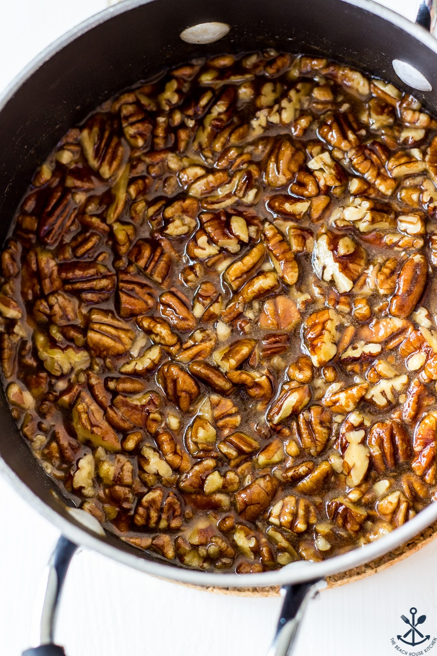 Overhead photo of pecans in a saucepan