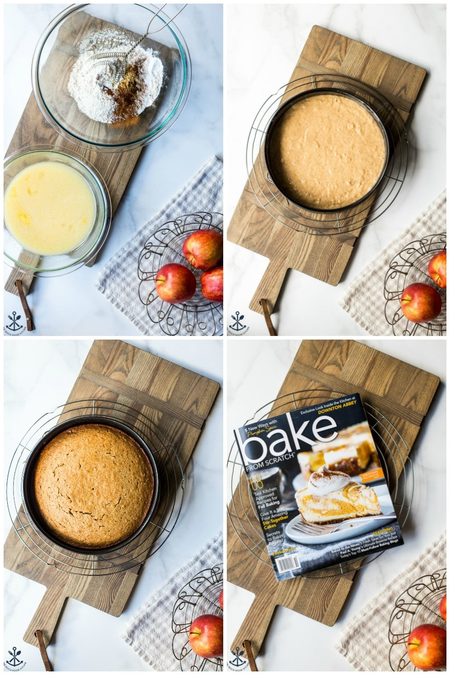 Collage of 4 photos of steps to make applesauce cake with vanilla bean frosting