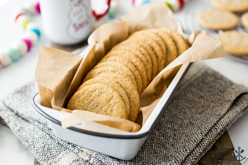 Loaf pan filled with apple pie spice drop cookies