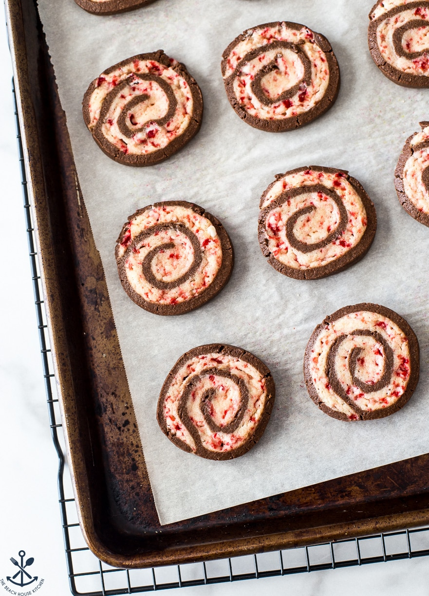 Overhead photo of tray of chocolate peppermint pinwheel cookies