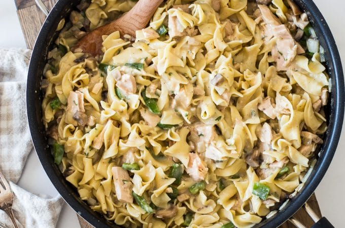 Overhead photo of tuna noodle casserole