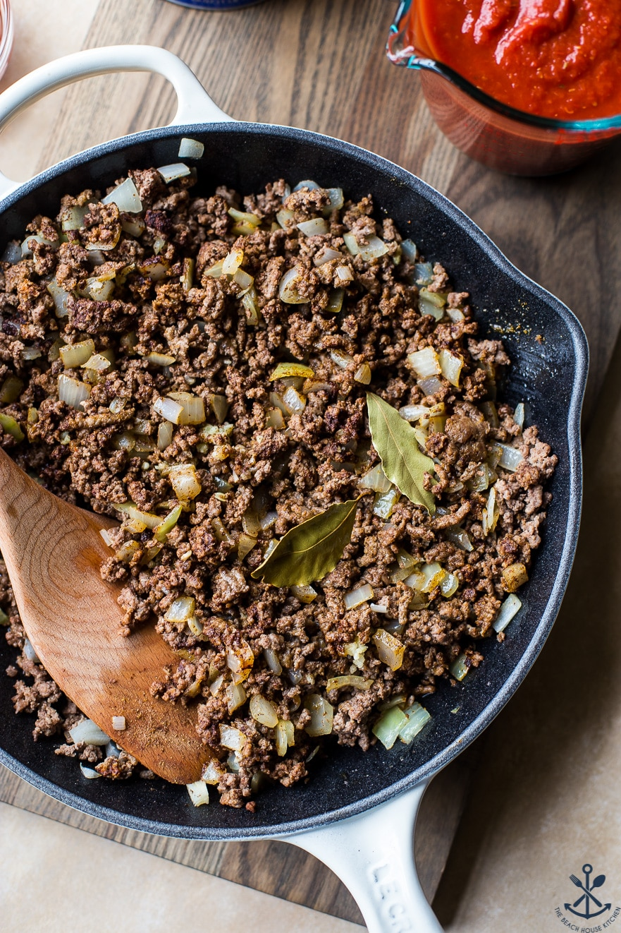 Overhead photo of skillet filled with ground beef