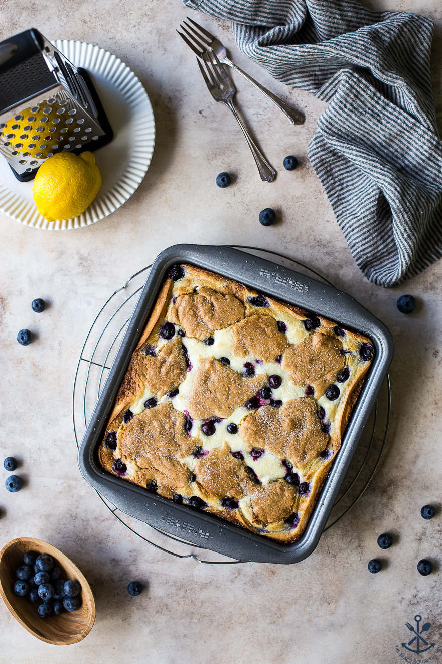 Overhead photo of lemon blueberry blondie bars in a 9x9 pan