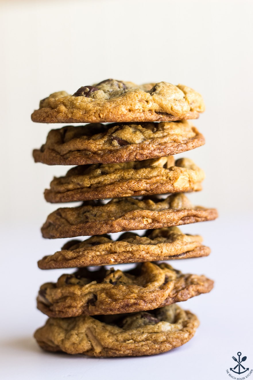 Stack of 7 almond joy chocolate chip cookies
