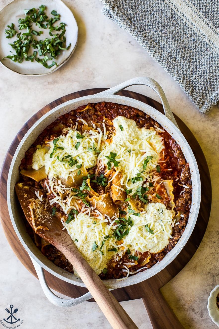 Overhead photo of easy skillet stovetop lasagna
