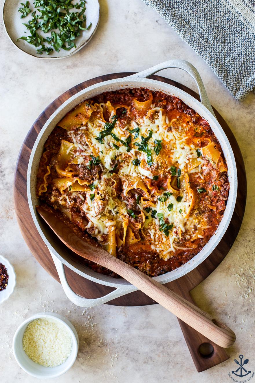 Overhead photo of easy skillet stovetop lasagna