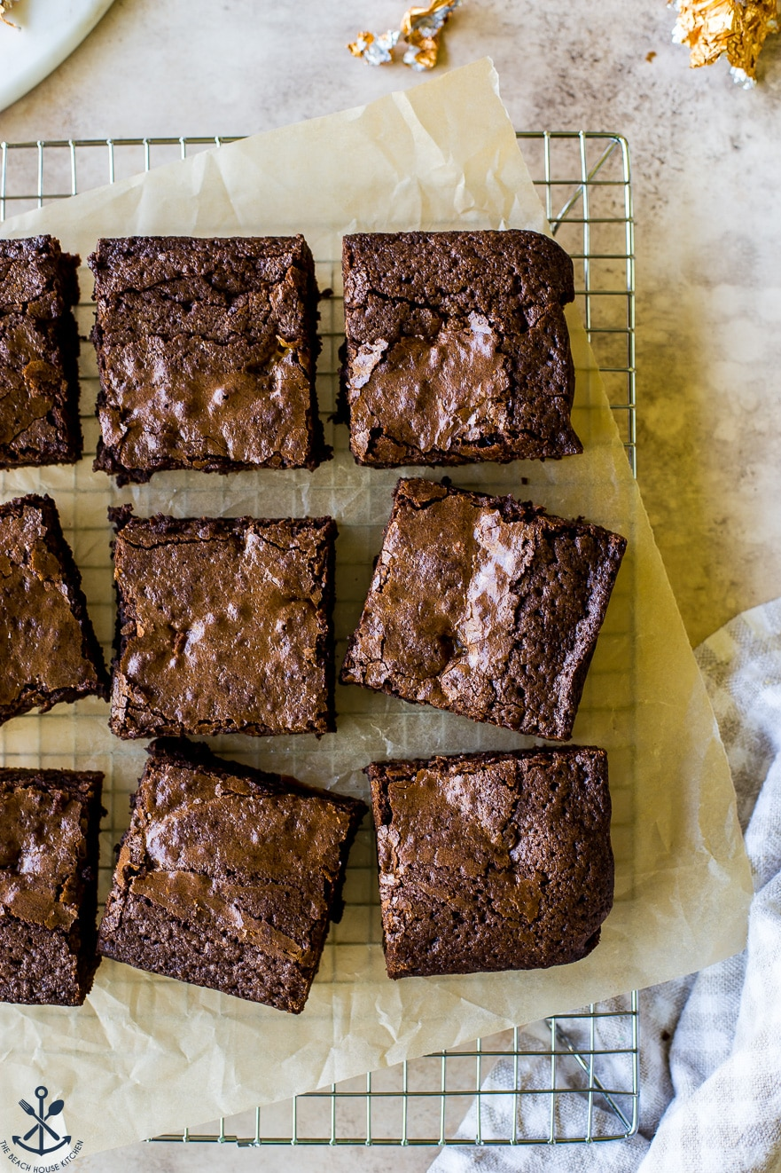 Overhead photo of squares of Decadent Rolo® Brownies