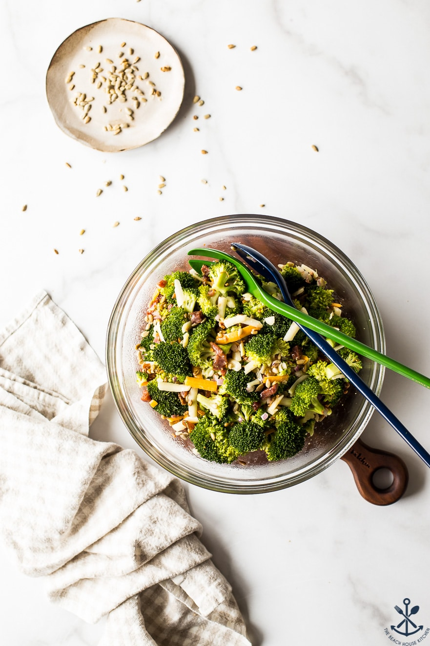 Overhead photo of Classic Broccoli Salad with Bacon in a glass bowl