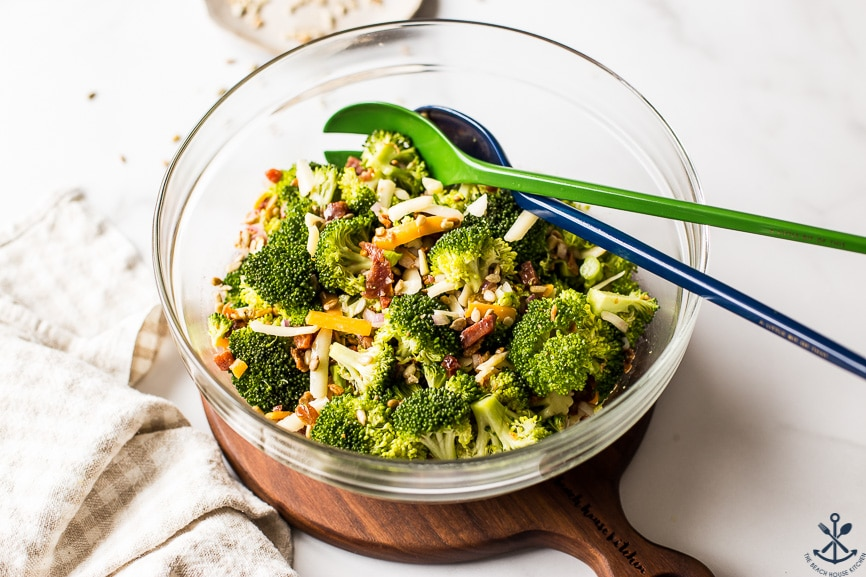 Classic Broccoli Salad with Bacon in a glass bowl