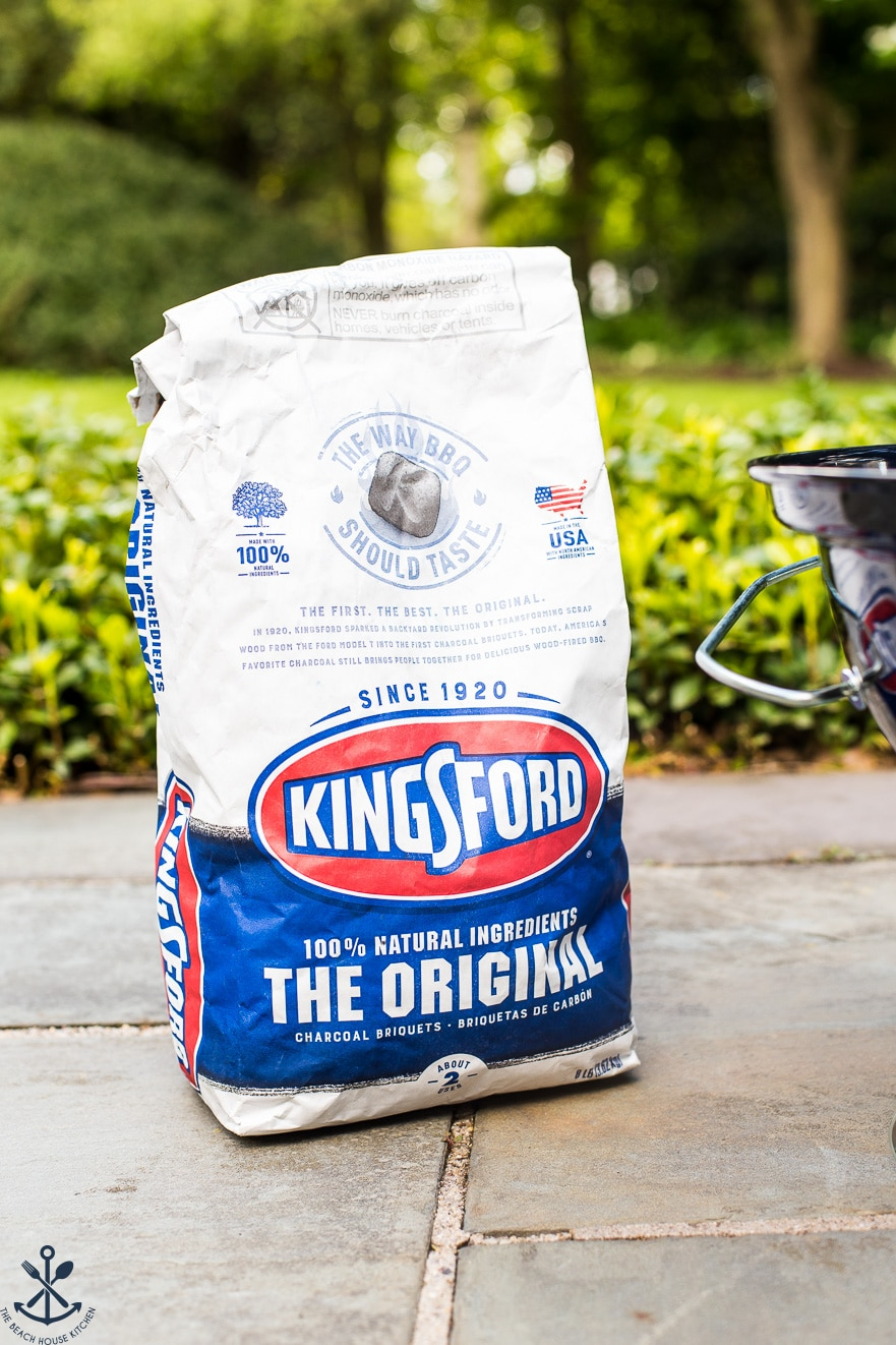 Bag of Kingsford Charcoal on a slate patio