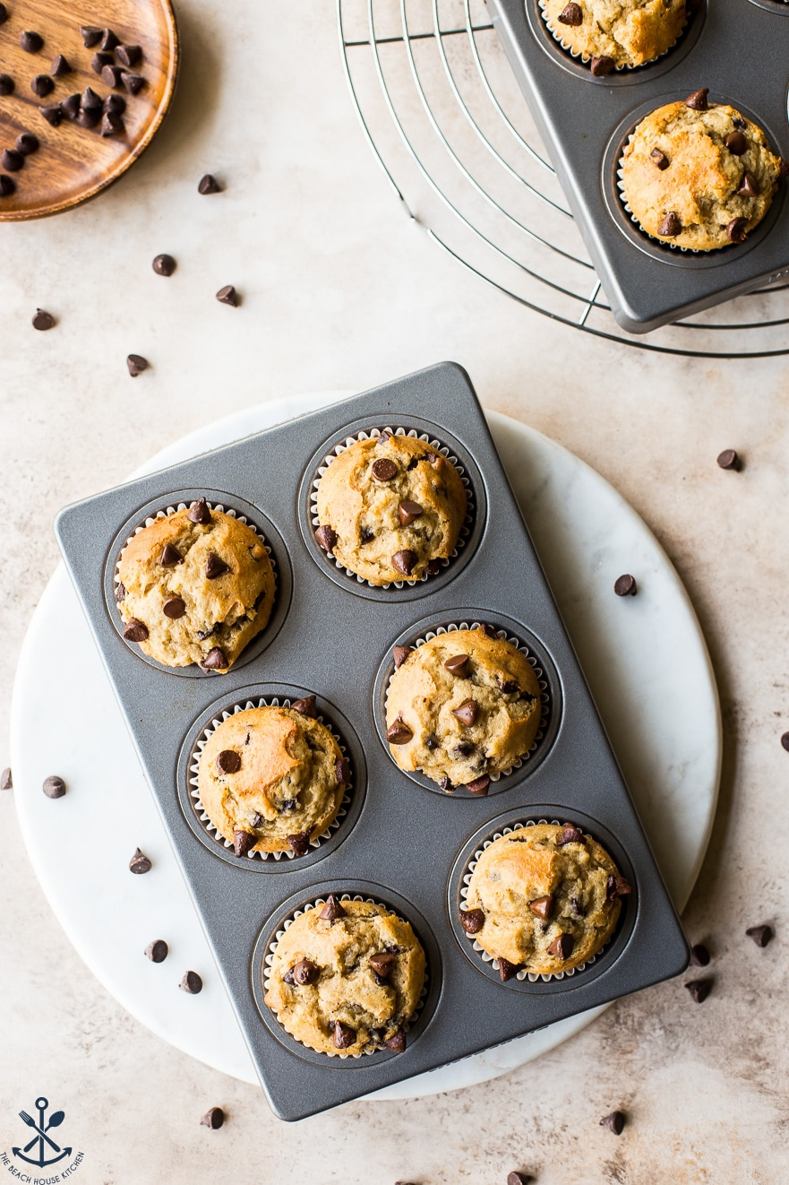 Overhead photo of easy chocolate chip muffins