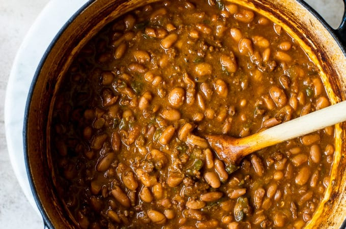 Overhead photo of pot filled with Mexican Baked Beans