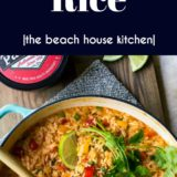 Cheesy Queso Fiesta Rice long Pinterest pin