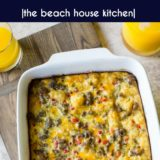 Creole Breakfast Egg Bake with Sausage and Potatoes long Pinterest pin