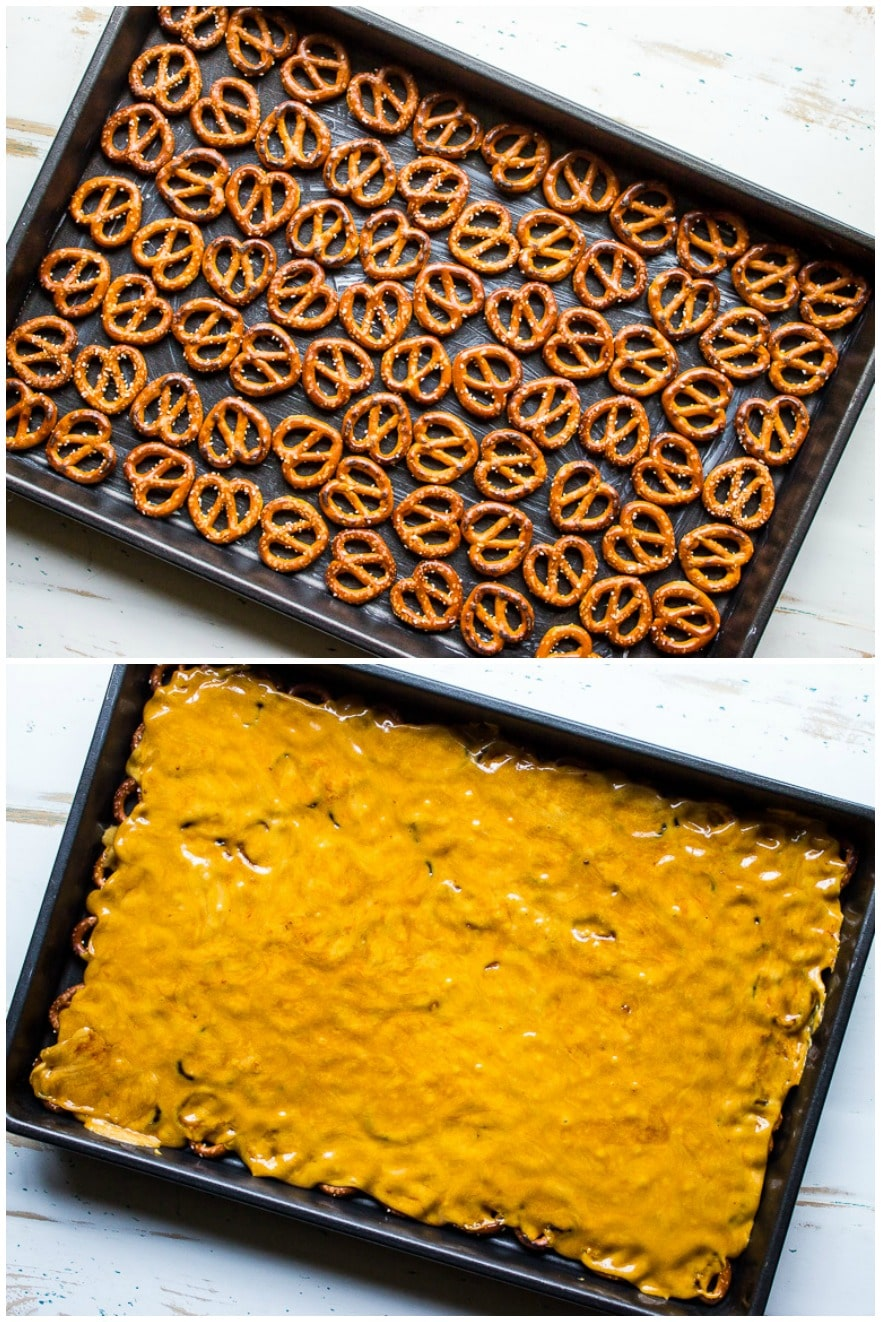 Diptich of pretzels on baking sheet and pretzel toffee on baking sheet