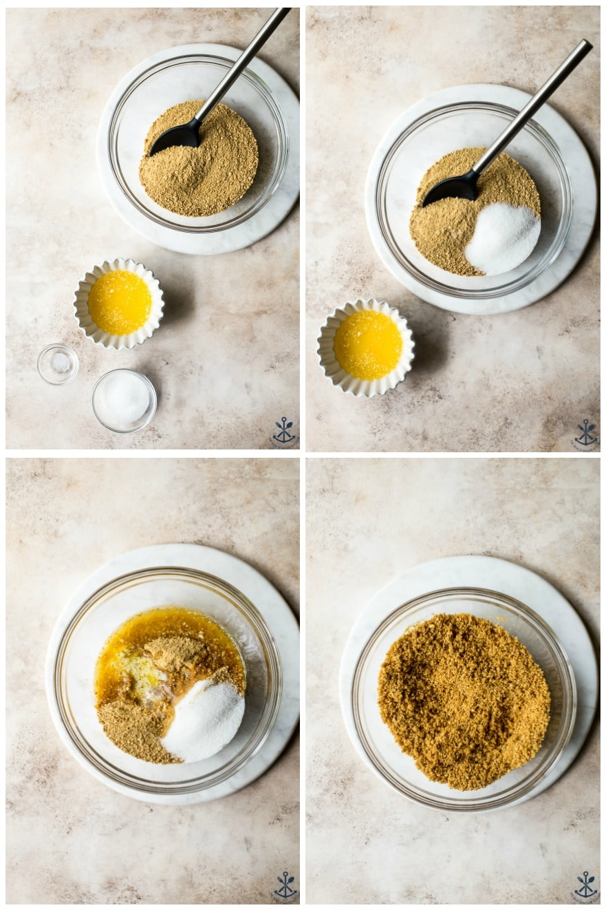 Collage of four photos showing steps to make graham cracker crust