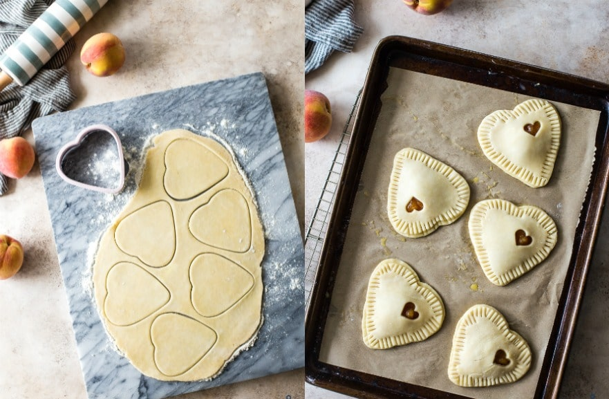 Diptych of cutouts and pre-baked summer peach hand pies