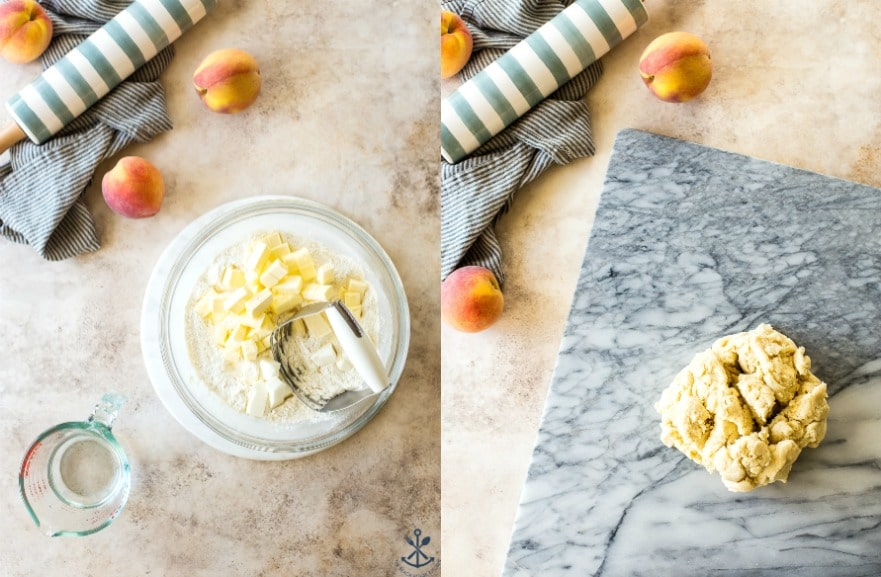 Diptych of peach hand pie dough ingredients in a bowl and finished dough on a marble board