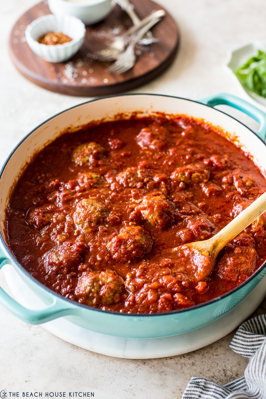 Mom's Meatballs and Marinara Sauce in a skillet