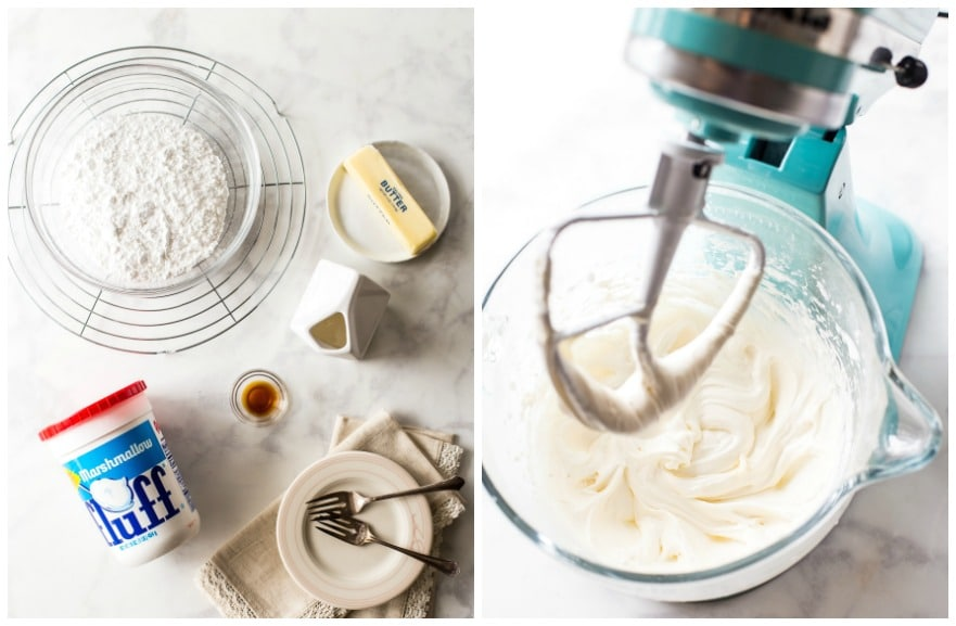 Collage of Easy Twinkie Bundt Cake filling ingredients and mixer filled with filling