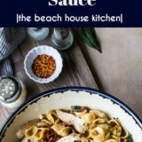 Chicken Pasta with Sun-Dried Tomato Bacon Cream Sauce long Pinterest pin