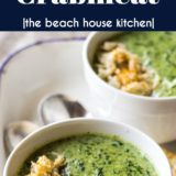 Creamy Spinach Soup with Crabmeat long Pinterest pin