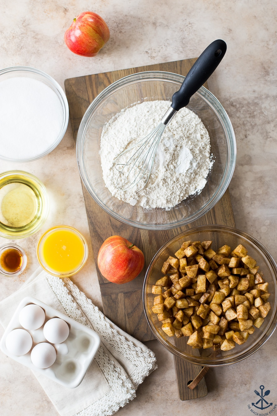 Overhead photo of ingredients for Jewish apple cake