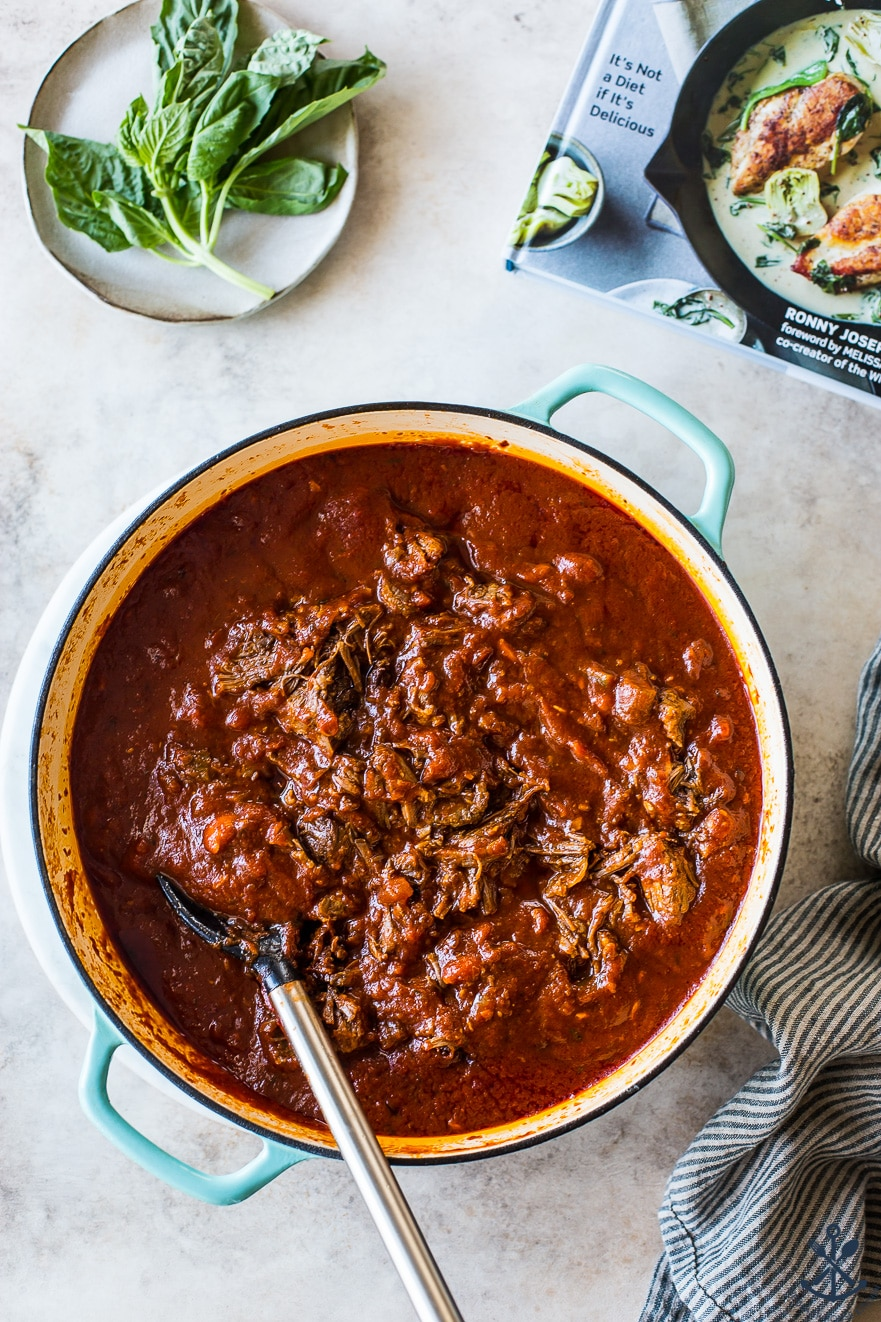 Overhead photo of Short Rib Ragù in a Dutch oven