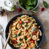 Shrimp Pasta with Garlic Cream Sauce Tomatoes and Spinach