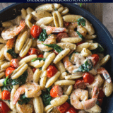 Shrimp Pasta with Garlic Cream Sauce Tomatoes and Spinach long Pinterest pin