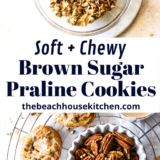 Brown Sugar Praline Cookies with Praline Cinnamon Glaze long Pinterest pin