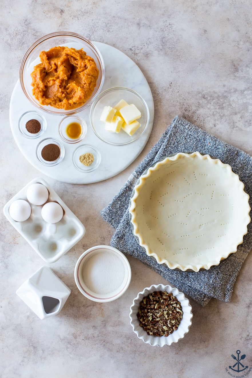 Overhead photo of ingredients for sweet potato pie with pecan topping