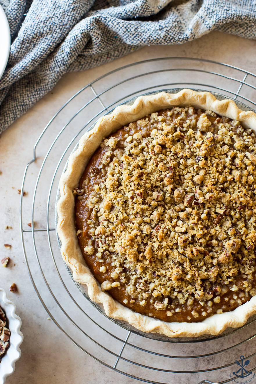 Overhead photo of sweet potato pie with pecan topping