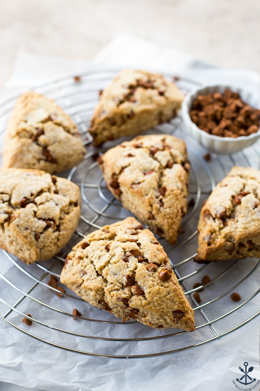 Cinnamon chips scones on a round wire rack