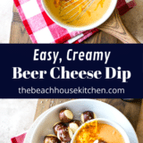 Easy Creamy Beer Cheese Dip long Pinterest pin