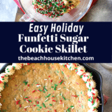 Easy Holiday Funfetti Sugar Cookie Skillet long Pinterest pin