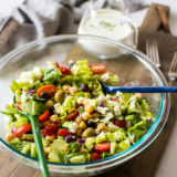 Greek Chickpea Salad with Green Goddess Dressing