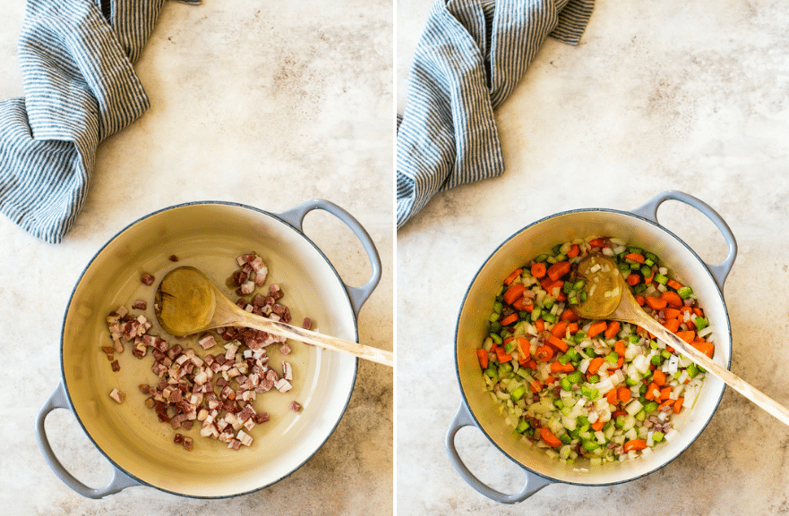 Diptych of pot wfilled with pancetta and pot with with chopped veggies