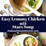 Lemony Chicken with Stars Soup long Pinterest pin