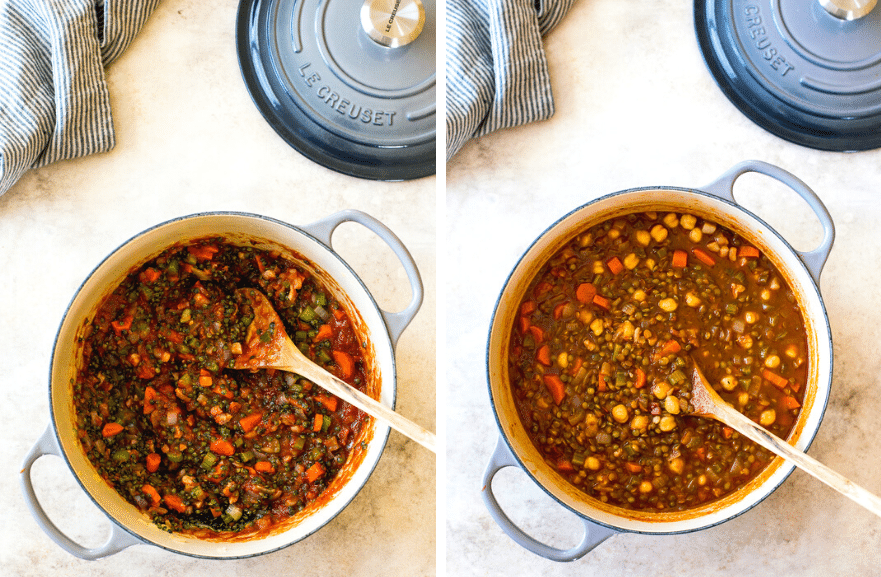 Diptych of a pot filled with lentil soup veggies and a pot filled with lentil soup