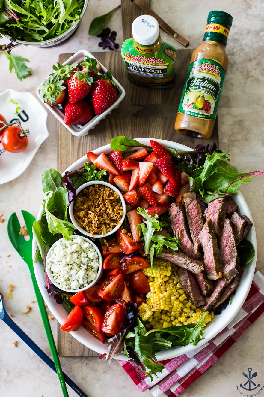 Overhead photo of Zesty Grilled Steak Salad with Corn and Strawberries