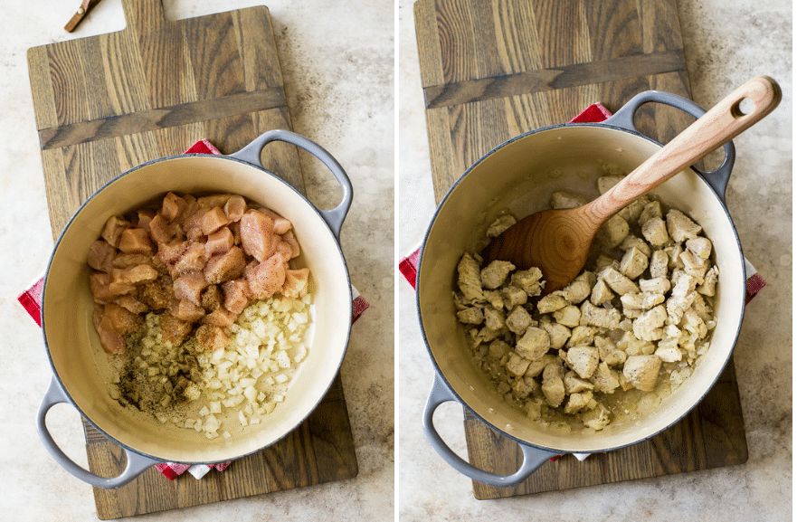 Diptich of photos of pot filled with uncooked chicken and onion on the left and cooked chicken and onion on the right