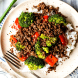 Korean Ground Beef with Broccoli and Peppers big collage of one image and text