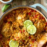One Pot Salsa Chicken and Rice long Pinterest pin