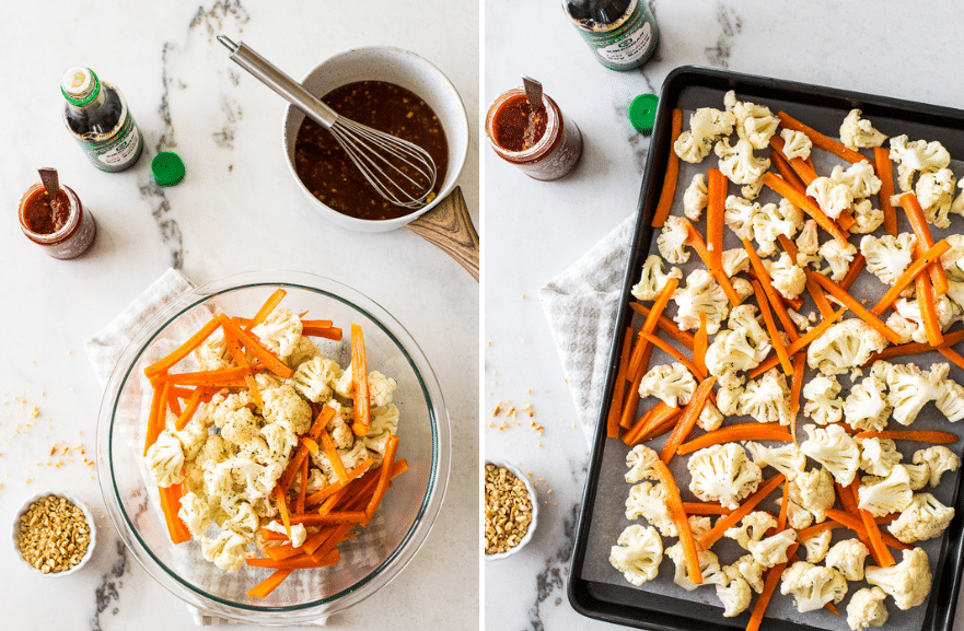 Diptych of cauliflower and carrots in a bowl and cauliflower and carrots on a sheet pan