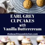 Earl Grey Cupcakes with Vanilla Buttercream long Pinterest pin
